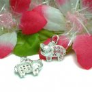 925 STERLING SILVER PIGGY PIG PINK CZ CHARM / PENDANT