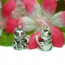 STERLING SILVER JAPANESE LUCKY CAT (MOVE) CHARM PENDANT