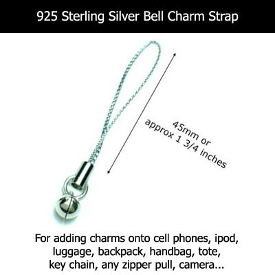 925 STERLING SILVER BELL CHARM / CELL PHONE STRAP