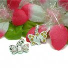 925 STERLING SILVER BUTTERFLY YELLOW CZ CHARM / PENDANT