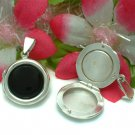 925 STERLING SILVER ONYX ROUND PHOTO LOCKET / PENDANT