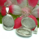 STERLING SILVER OVAL FLOWER PHOTO LOCKET / PENDANT #48