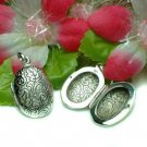 925 STERLING SILVER OVAL W/ LEAVES PHOTO LOCKET PENDANT