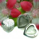 STERLING SILVER HEART W/ FLOWER PHOTO LOCKET PENDANT #2