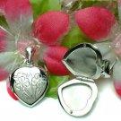 STERLING SILVER HEART W/ FLOWER PHOTO LOCKET PENDANT #8