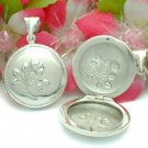 STERLING SILVER ROUND W/ FLOWERS PHOTO LOCKET / PENDANT