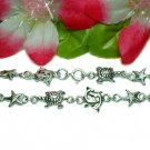STERLING SILVER TURTLE DOLPHINS STARFISH CHARM BRACELET