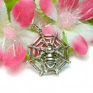 925 STERLING SILVER SPIDER ON WEB (MOVES) CHARM PENDANT