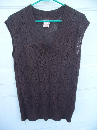 Faded Glory Knit Lace Top SIZE LARGE