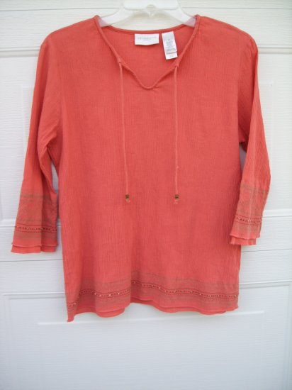 Liz Claiborne Apricot 3/4 Sleeve Tunic SIZE MEDIUM