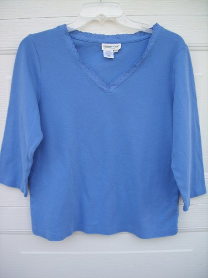Coldwater Creek 3/4 Sleeve Lace Neck Tee SIZE MEDIUM