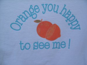 """Aeropostale """"Orange You Happy...."""" Tomeboy Fit Tee SIZE SMALL"""