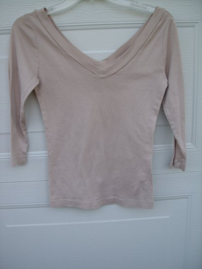 Banana Republic Tan 3/4 Sleeve Top SIZE SMALL