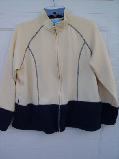 Jennifer Moore Yellow and Navy Zipup SIZE LARGE