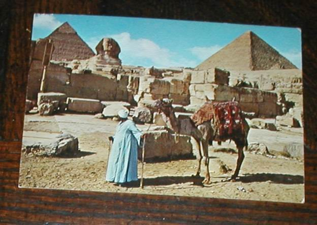 EGYPT AFRICA POSTCARD SPHINX GIZA CHEOPS PYRAMID 1977