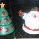 CHRISTMAS SALT PEPPER SHAKERS SANTA TREE VINTAGE
