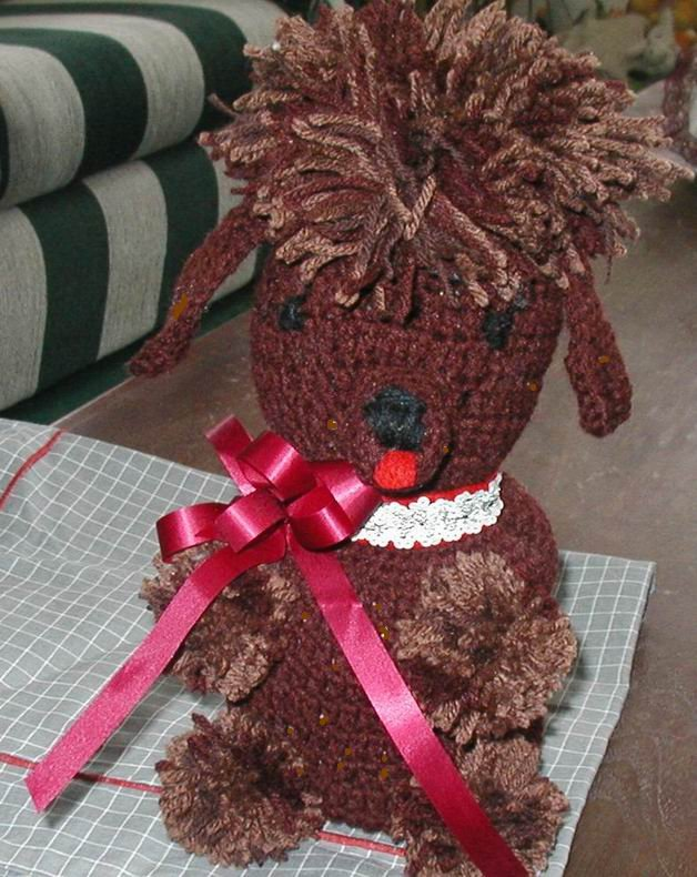 TOY POODLE BROWN TOILET PAPER COVER CROCHET HOMEMADE U.S.A.