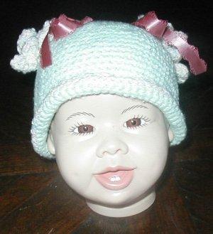 "BABY HAT MINT GREEN W/PIGGY TAILS  14"" NEWBORN  INFANT"