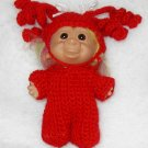 "DOLL TROLL OUTFIT COSTUME CROCHET 5"" RED PIGGY TAIL PAJAMAS   3 PIGGY TAILS ON EACH SIDE. PAJAMAS"