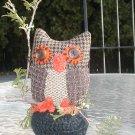 PIN CUSHION STUFFED LG  OWL HAND MADE HOMEMADE MADE USA. HOOTY