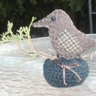 PIN CUSHION SMALL WREN BIRD FABRIC CROCHET BOTTOM