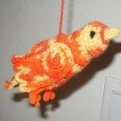 BIRD ORNAMENT ORANGE HAND CROCHET BIRD MADE USA