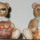 "Homco Teddy Bear 2 big  boy & GIRL BEAR  Figurine  Home Interiors 4"" honey"