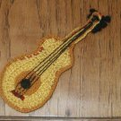 "GUITAR E 8"" X 3 1/2"" Crochet  Applique FABRIC  embellishment Trim FABRIC  Crochet"