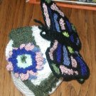 BUTTERFLY TOILET PAPER HOLDER COVER HAND CROCHET MADE USA OOAK FLOWER UNIQUE
