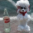 CROCHET WHITE FUNKY POODLE FOR 8 OZ COKE COCA COLA BOTTLE NO BOTTLE INCLUDED