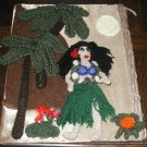 HAWAIIAN HULA GIRL DOLL COLLAGE CROCHET PICTURE HAWAII