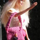 BARBIE DOLL Handmade CROCHET USA MADE IN AMERICA hat purse OOAK no doll