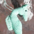 "SEAHORSE MARINE PRETEND  Handmade CROCHET USA MADE IN AMERICA AQUA APPROX 6"" ORNAMENT.  ."