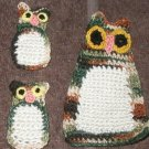 3 CROCHET LARGE OWL 2 BABY OWLS Appliques SEW ON HAND MADE MADE IN AMERICA USA