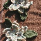 2 LARGE CROCHET FLOWERS APPLIQUE TO SEW ON YOUR ITEM USA MADE AMERICA. VARIGATED YARN. 7""