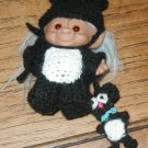 "TROLL OUTFIT COSTUME CROCHET 3 1/2"" MOUSE USA MADE IN AMERICA MOUSE BABY EARS"