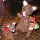 "MINIATURE squirrel and baby ORNAMENT HANDMADE CROCHET USA TOY 4 1/2"" with acorns and baby"
