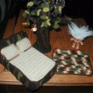 "TROLL DOLL bed and tree DISPLAY FOR 3"" OR 5"" TROLL CROCHET ART  GREAT DISPLAY FOR YOURTROLL"