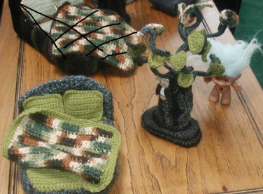 """TROLL CROCHET ART. MADE WITH YARN  Tree measures 9"""", bed measures 6"""" long and 5 1/2"""" wide,"""