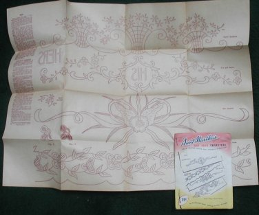 NEW Aunt Martha Designs  Pillow Slips Transfer Patterns  textile His Hers orchid