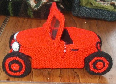 """TROLL car automobile display toy crochet does not run OOAK for 3"""" troll. Hand made USA."""