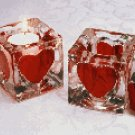 Glass Heart Cube Votive