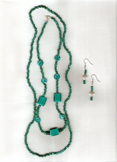 Teal Shimmer Necklace and earring set