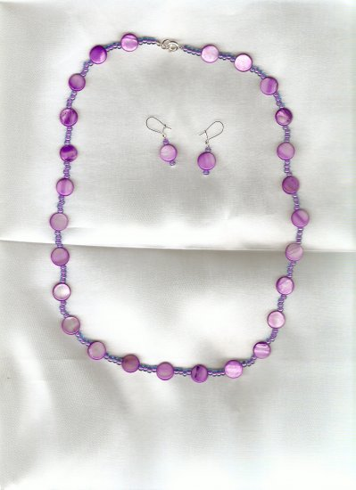 Orchid Button necklace and earring set