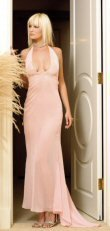 Chiffon Beaded Long Halter Gown with Train - Pink