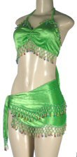 Two Piece Velvet Belly Dancer Set with Bead and Coin Accents