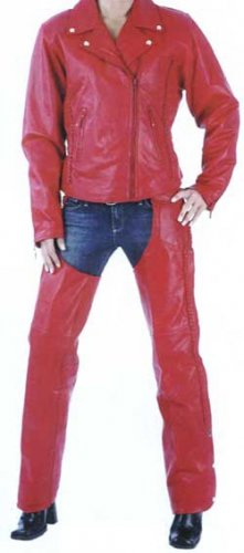 Red Leather Braided Chaps