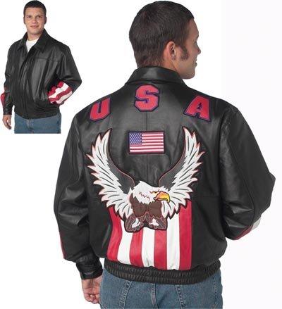 USA/Eagle Solid Leather Jacket