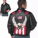 USA/Eagle Solid Leather Jacket