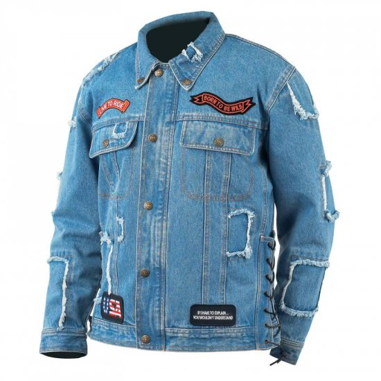 Denim Motorcycle Jacket w/Patches